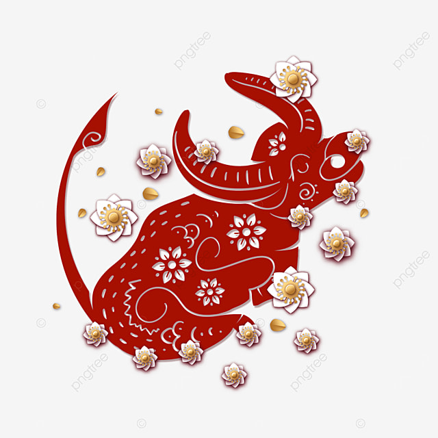 new year spring festival paper cut red cow