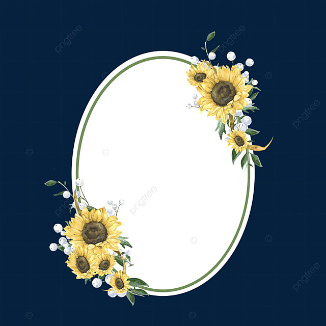 oval simple sunflower flower border