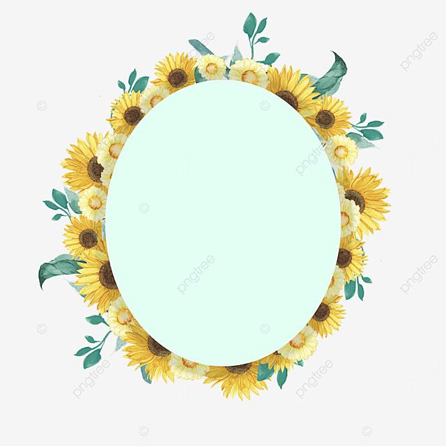 oval sunflower green border