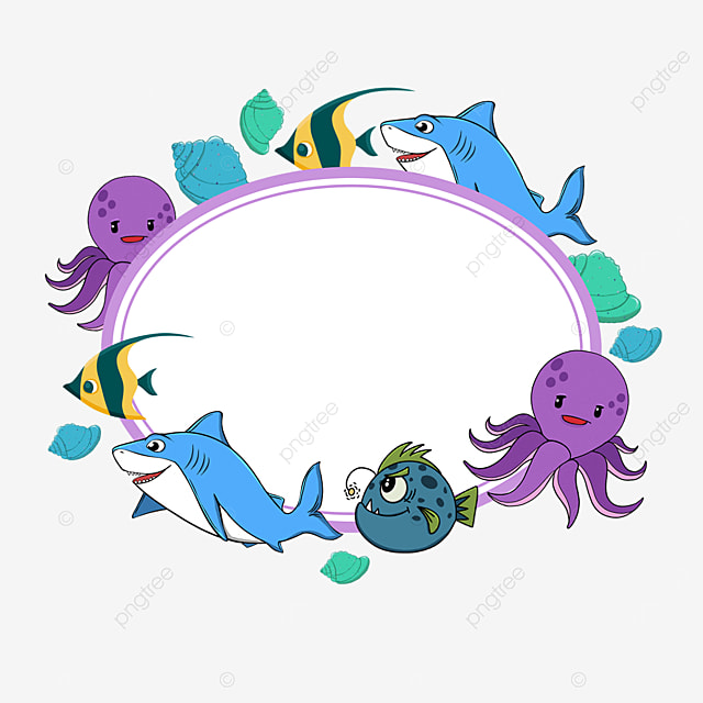 purple world ocean day oval border