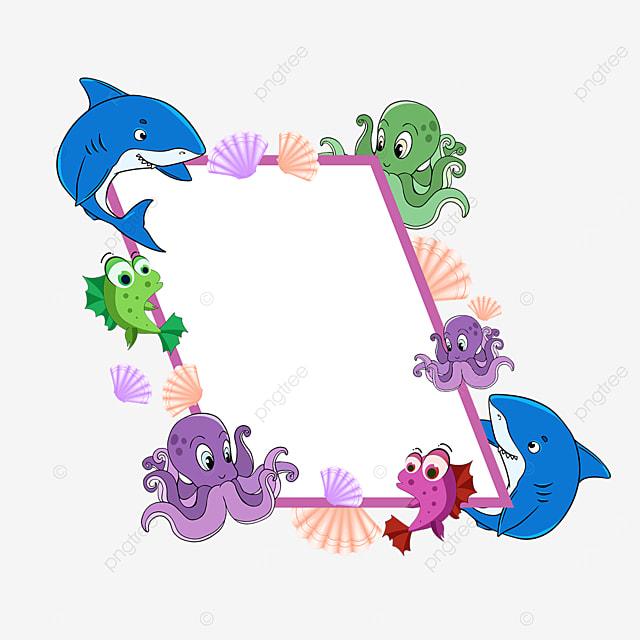 purple world ocean day shark creature border