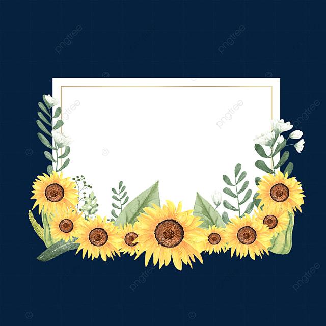 rectangle floral sunflower border