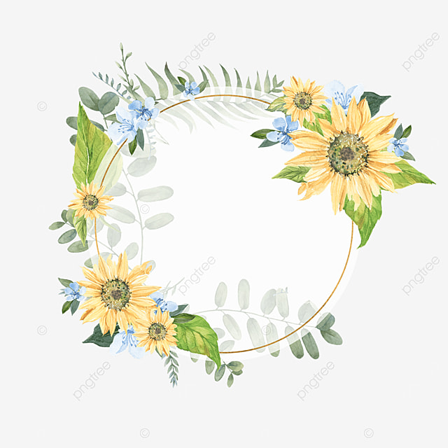 round perspective floral sunflower border