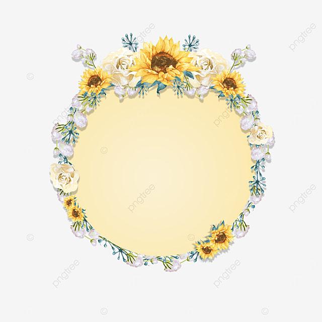round yellow sunflower border