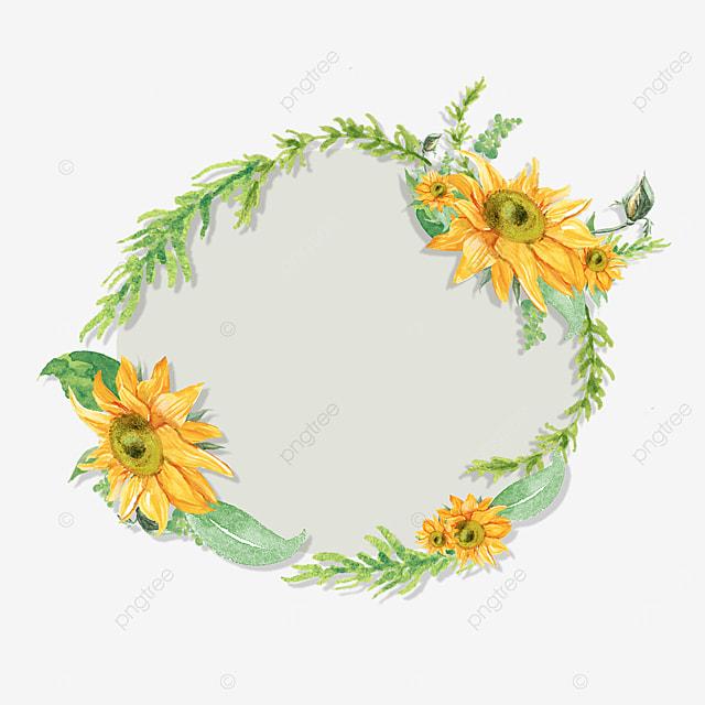 sunflower green branch floral border