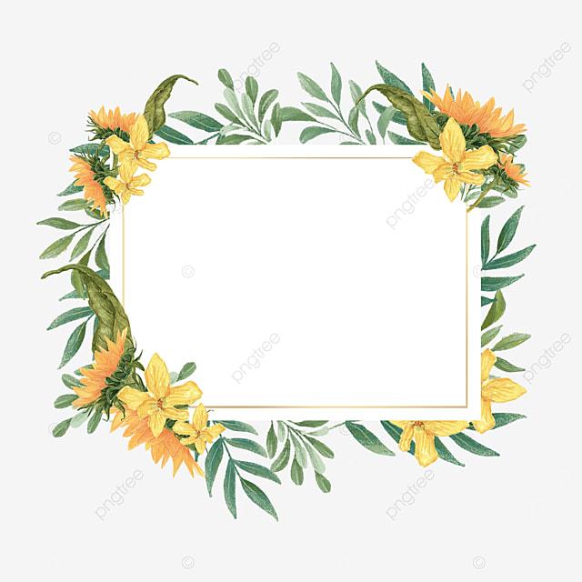 sunflower leaves rectangular border