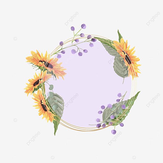 sunflower round purple perspective border