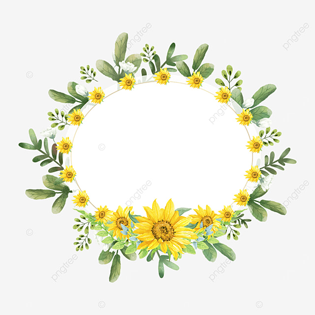 sunflower wreath floral border