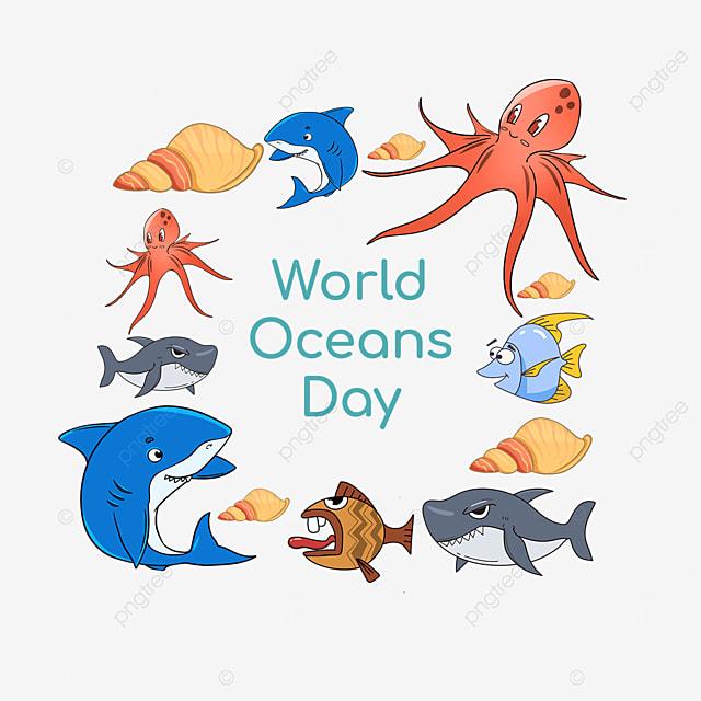 world ocean day fish patchwork border