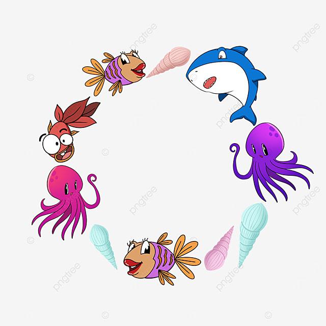 world oceans day conch shark biological chain frame