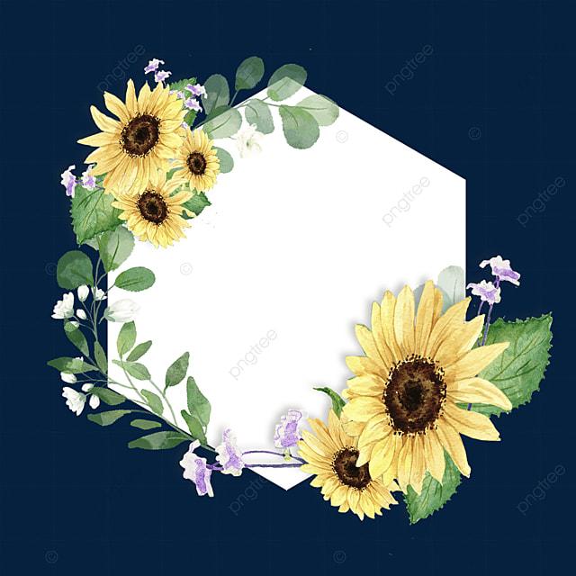 yellow sunflower round border