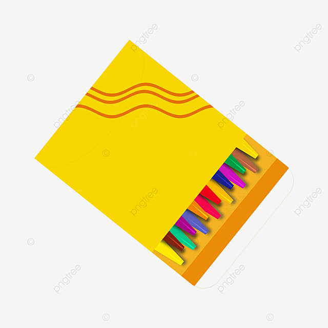 color crayons yellow box clipart
