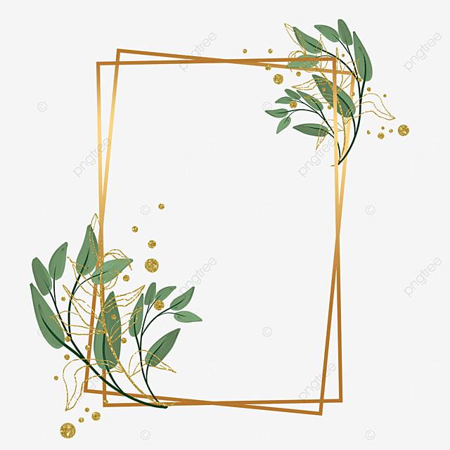 creative gold leaf plant decorative geometric graphic border