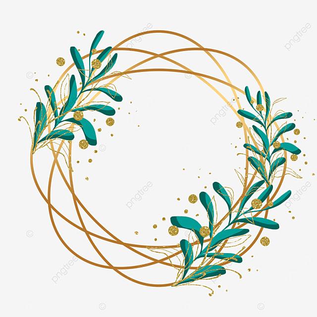 creative gold leaf plant leaf geometric border