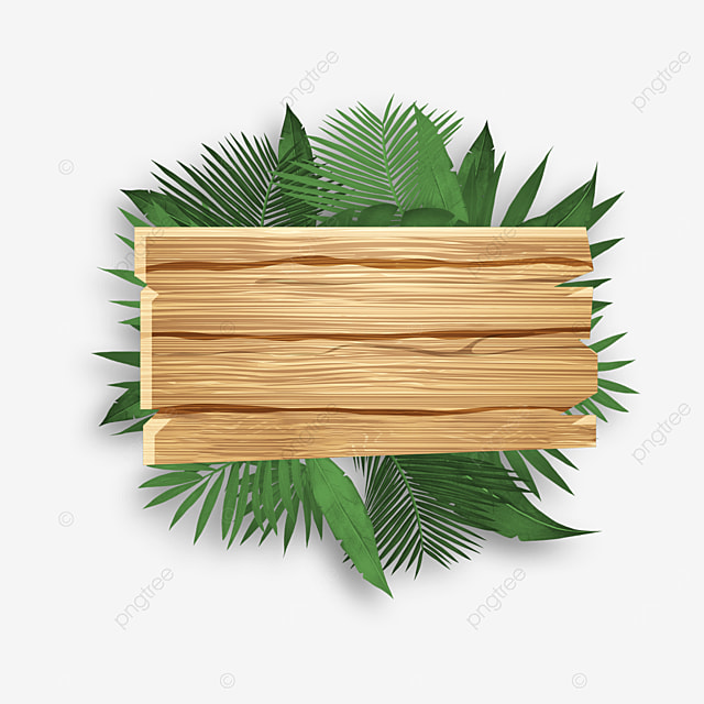 european wooden board green plant border
