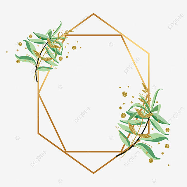 geometric figure plant gold foil decorative border
