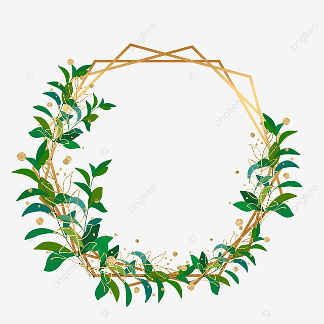 geometric figure plant leaf gold foil decorative border