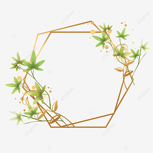 gold foil green leaf decorative geometric border