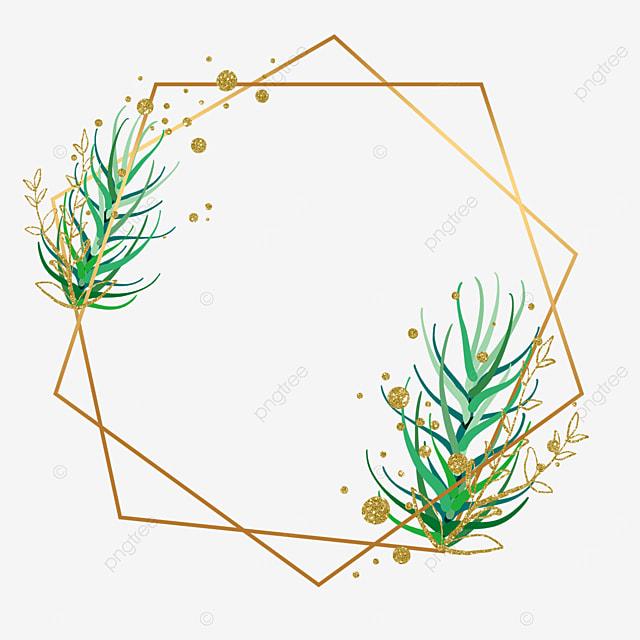 gold leaf plant leaf decorative geometric shape border