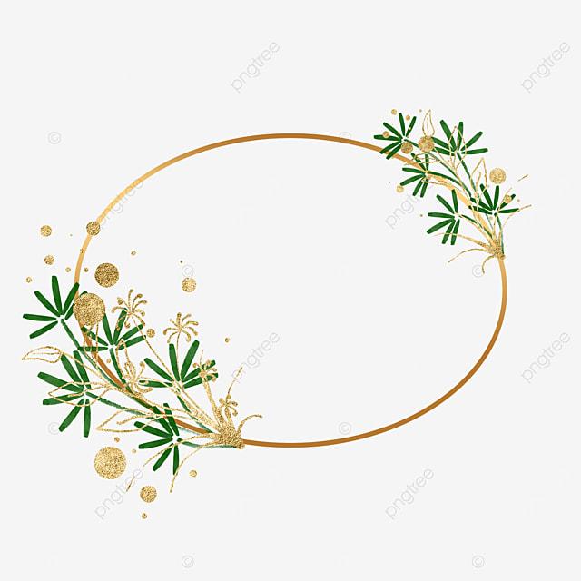gold leaf plant leaf decorative oval border