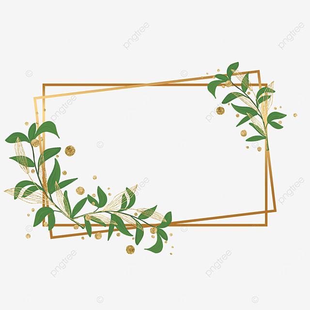 golden geometric figure gold leaf plant decorative border