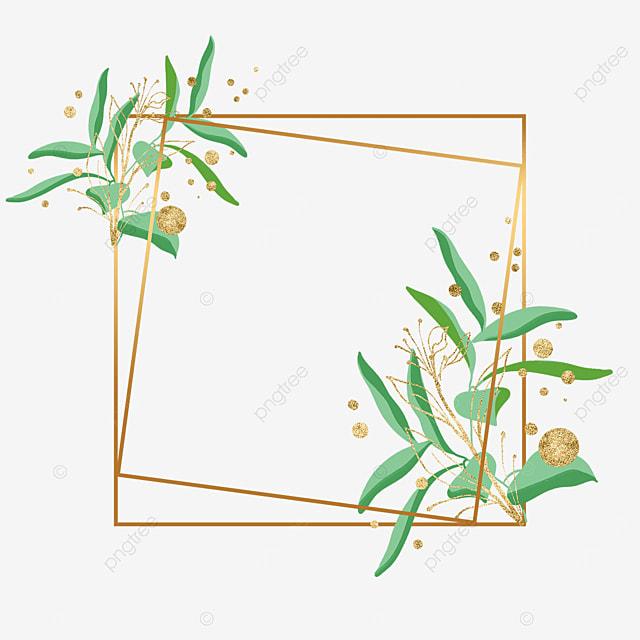golden geometric shape plant leaf decorative border