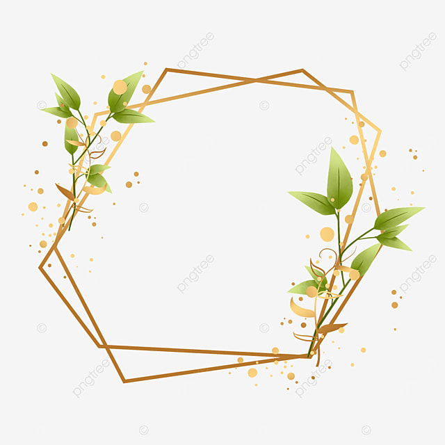 golden irregular geometric figure plant gold foil decorative border