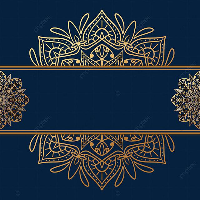 golden line mandala pattern decorative border