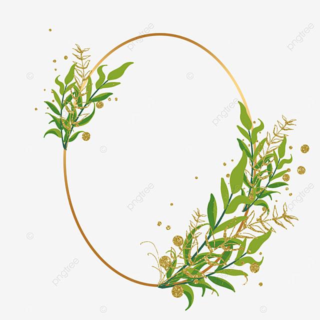 golden oval plant leaf decorative border