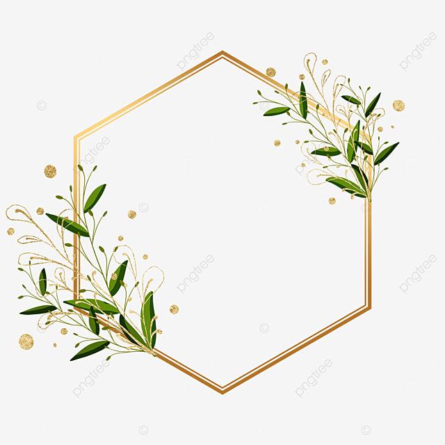 golden polygonal plant leaf decorative border