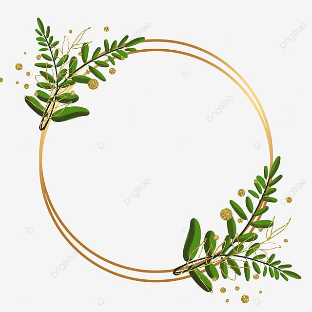 golden round plant leaf decorative border