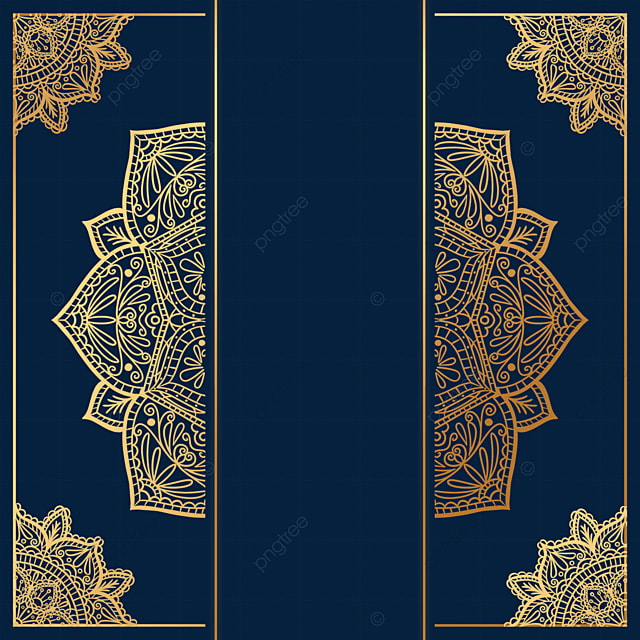golden square mandala decorative border