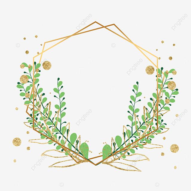 green plant decoration golden geometric shape border