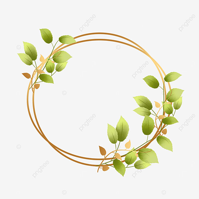 green plant decorative geometric border