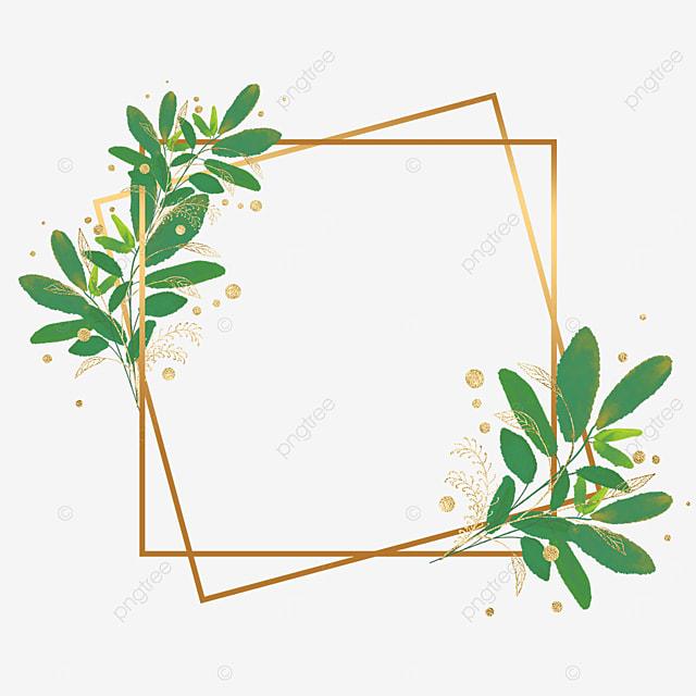 green plant gold foil decorative geometric border