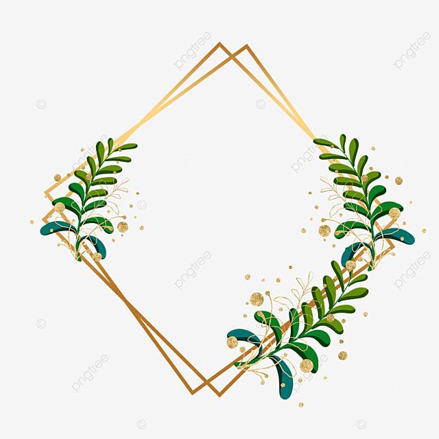 green plant leaf decorative golden geometric border