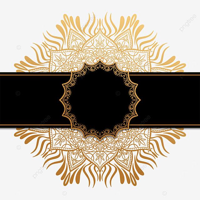 luxury golden mandala decorated with black border