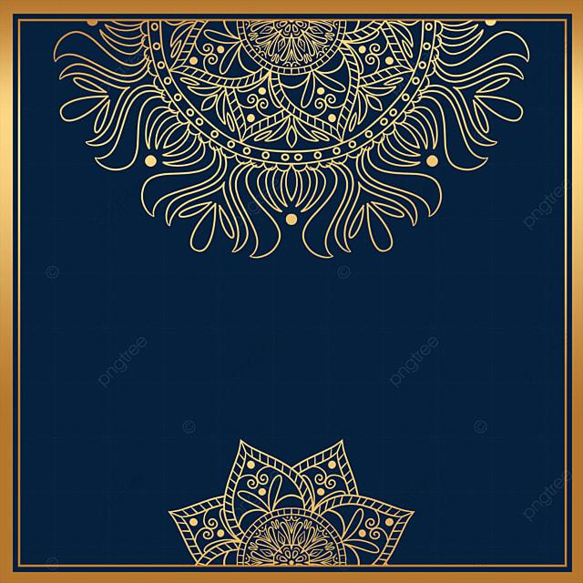 luxury mandala decorated golden square border