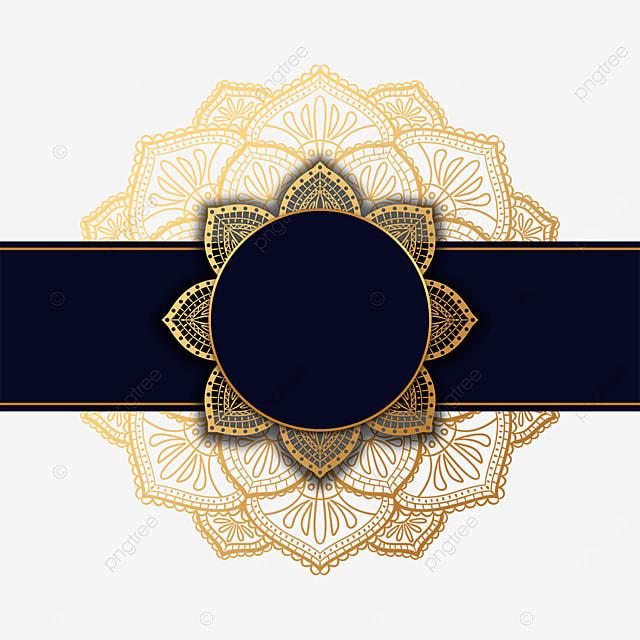 mandala decorated black luxury round border
