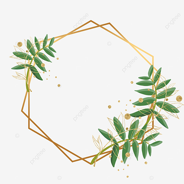 plant leaf gold foil decorative geometric graphic border