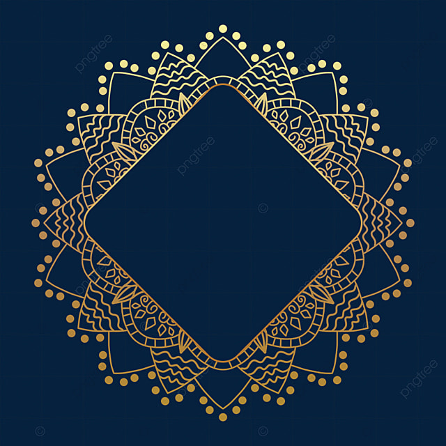 polka dot golden mandala decorative border