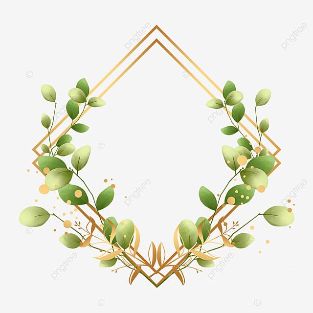 prismatic green leaf gold foil decorative border