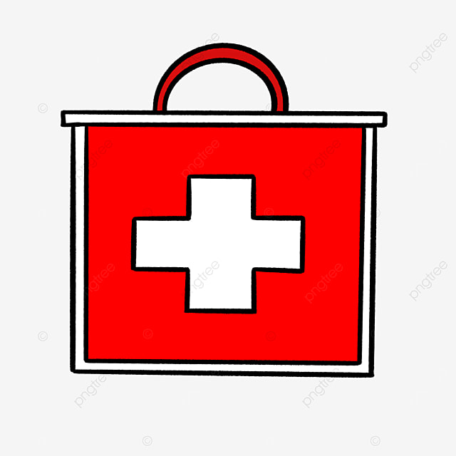 red and white cartoon first aid kit clipart
