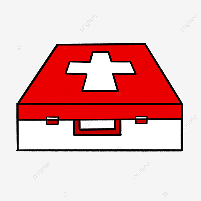 red and white first aid box clip art