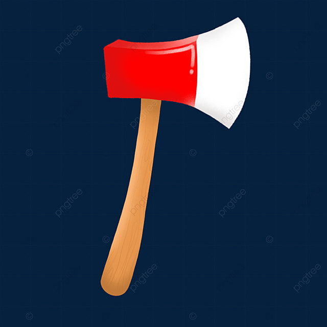 red axe with curved handle clip art