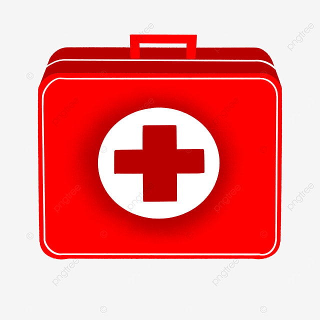 red three dimensional first aid kit clipart