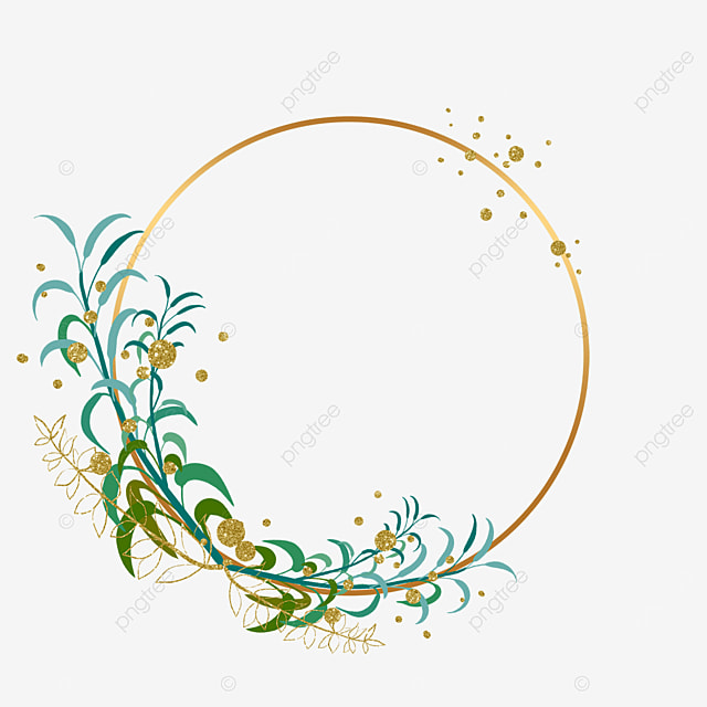 round plant leaf gold foil decorative border