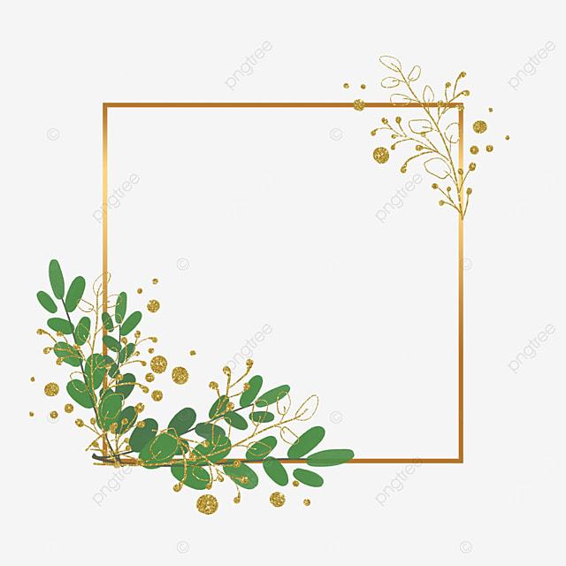 square plant leaf gold foil decorative border