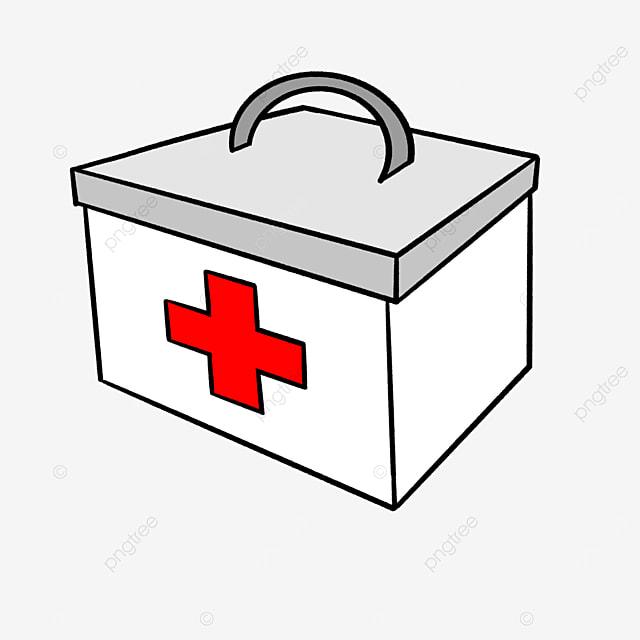 white cartoon first aid kit clipart