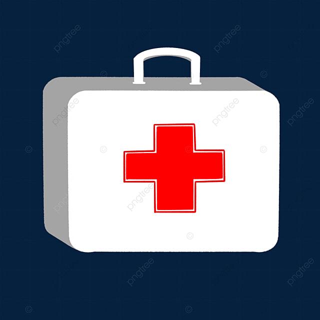 white three dimensional first aid kit clipart
